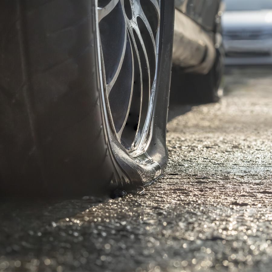 Flat tire in northern Michigan